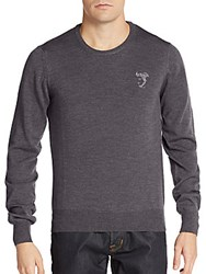 Versace Wool Crewneck Sweater Grey