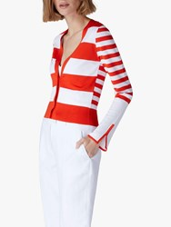 Jaeger Stripe Cardigan Red White