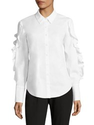Scripted Lace Up Ruffled Poplin Shirt White