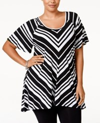 American Rag Plus Size Striped Tunic Top Only At Macy's Classic Black Combo
