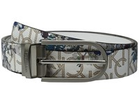 Calvin Klein 32Mm Reversible Flat Strap Floral Pvc To Smooth Natural Chrome Women's Belts Gray