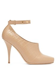 Burberry Blyth Peep Toe Crocodile Effect Leather Pumps Beige