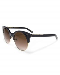 Pared Eyewear Up And At Em Semi Rimless Round Sunglasses Black Gold Black Gold