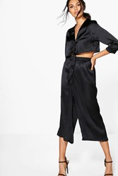Boohoo Satin Tie Shirt And Culotte Co Ord Black