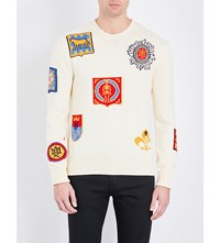 Alexander Mcqueen Motif Embroidered Knitted Cotton Jumper Ivory Multicolor