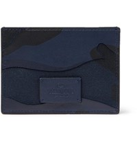 Valentino Garavani Camouflage Print Leather And Canvas Cardholder Navy