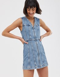 Weekday Zip Detail Denim Mini Dress In Blue