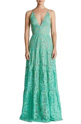 Dress The Population Women's Melina Lace Fit And Flare Maxi Mint