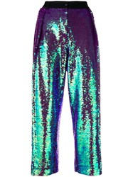 Peter Jensen Pleated Sequin Trousers Pink And Purple