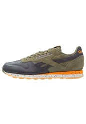 Reebok Classic Cl Leather Sm Trainers Hunter Green Lead Orange