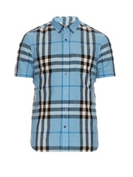 Burberry Short Sleeved House Check Shirt Blue Multi