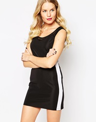 Pussycat London Bodycon Dress With Mesh Insert Black