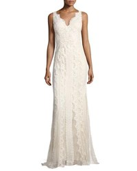 Faviana V Neck Lace Embroidered Dress W Tulle Inserts White