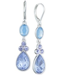 Nine West Silver Tone Blue Stone And Crystal Double Drop Earrings