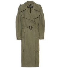 Burberry Oversized Ramie And Cotton Military Coat Green