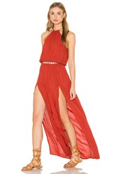Blue Life Double Slit Maxi Dress Red