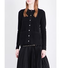 Sacai Floral Lace Knitted Cardigan Black
