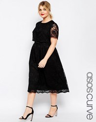 Asos Curve Lace Crop Top Midi Dress Black