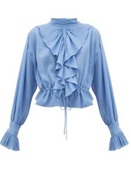 J.W.Anderson Jw Anderson Ruffled Funnel Neck Cotton Crepe Blouse Blue