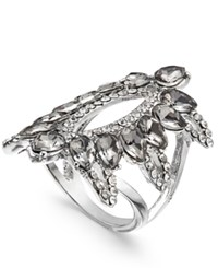 Inc International Concepts Silver Tone Pave And Black Stone Ring Created For Macy's