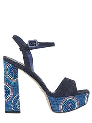Le Silla 140Mm Embellished Denim Sandals