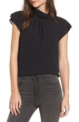 Chelsea 28 Chelsea28 Dotted Crinkle Chiffon Top Black