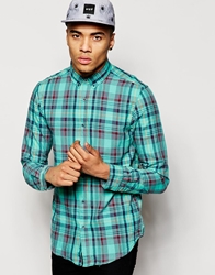Pull And Bear Pullandbear Long Sleeve Shirt In Check Green