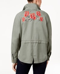 Style And Co Cotton Embroidered Back Utility Jacket Only At Macy's Morroccan Emblem