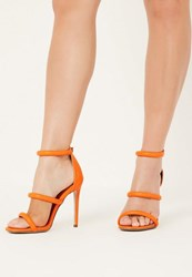 Missguided Orange Rounded 3 Strap Barely There Heels