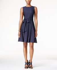 Tommy Hilfiger Bow Fit And Flare Dress Navy