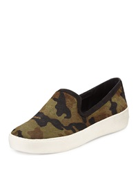 Sam Edelman Becker Calf Hair Slip On Sneaker Olive Camo