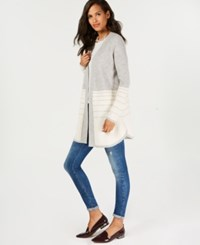 Charter Club Pure Cashmere Textured Stripe Sweater Ice Grey Combo