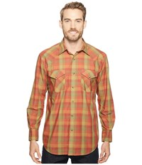 Pendleton Long Sleeve Frontier Rust Green Plaid Men's Clothing Brown