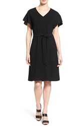 Women's Lafayette 148 New York 'Jordana' Belted Flutter Sleeve Dress Black