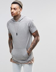 Asos Oversized Short Sleeve Hoodie In Grey Grey