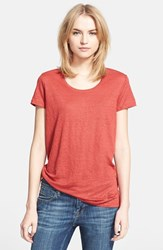 Women's Burberry Brit Scoop Neck Linen Tee Berry Red