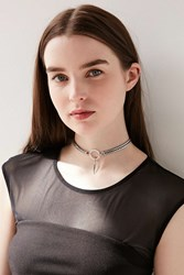 Luv Aj Hanging Spike Choker Necklace Silver