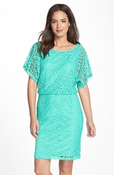 Maggy London Floral Lace Blouson Dress Cove Turquoise