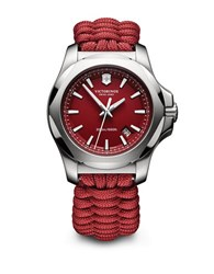 Victorinox Stainless Steel Paracord Bracelet Watch Red