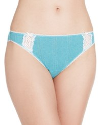 Charter Club Pointelle Cotton Bikini Teal Heather