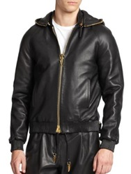 Giuseppe Zanotti Leather Chain Link Hoodie Black