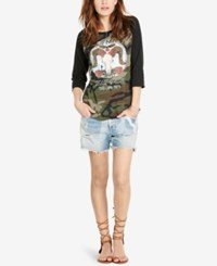 Denim And Supply Ralph Lauren Graphic Raglan T Shirt Black Multi