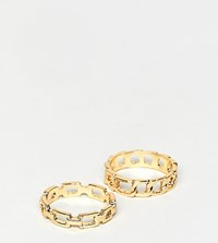 Designb London Gold Chain 2 Pack Of Rings
