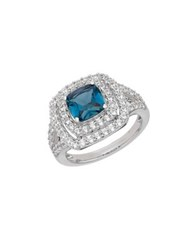 Lord And Taylor London Blue Topaz White Topaz Sterling Silver Frame Ring