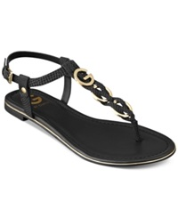 G By Guess Women's Dahlia Braided T Strap Flat Sandals Women's Shoes Black