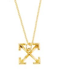 Off White Cross Arrow Small Pendant Necklace Gold