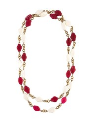 Chanel Vintage Gripoix Double Strand Necklace Red