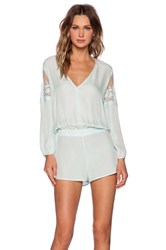 Mason By Michelle Mason Lace Inset Romper Mint