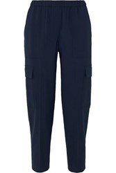Theory Cropped Stretch Wool Tapered Pants Navy