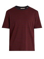 Vince Striped Cotton Jersey T Shirt Red Multi